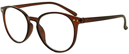 Original Classic Round Vintage Prescription Magnification Reader Eye Glasses Rx Power Strength +150 +175 +200 +2.25 +250 +300 (Brown, - Vintage Round Eyeglasses