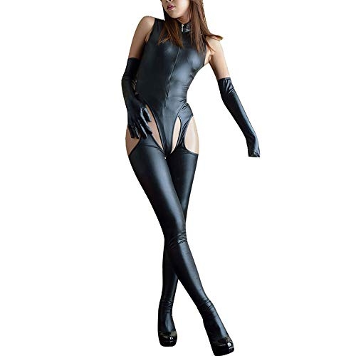 Jialili Women Sexy Jumpsuit Leather Underwear Zipper Underwear Hollow Pajamas Black