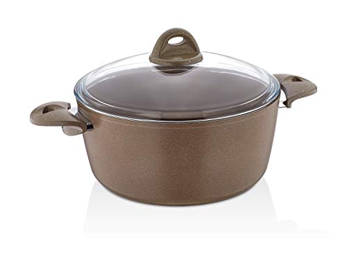 Granite Stock Pot with Tempered Glass Lid | Non-Stick | Scratch-Resistant Forged Aluminum | PFOA Free QuanTanium Coating | Even Heating Cooking Dishware Includes Storage Bag (6-Quart) ()
