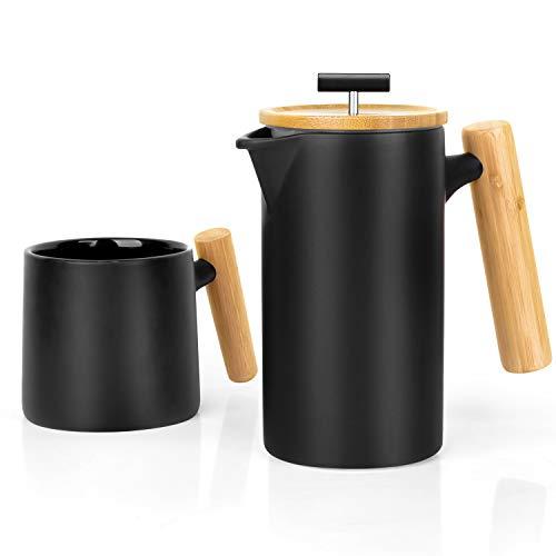 Ceramic French Press Coffee Maker Coffee Press Coffee Plunger 24 oz. Non-Porous Stoneware with Coffee Mug Black