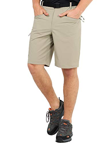 MIER Men's Quick Dry Cargo Shorts Lightweight Stretch Travel Hiking Shorts with 5 Zipper Pockets, Water Resistant, Rock Grey, 40