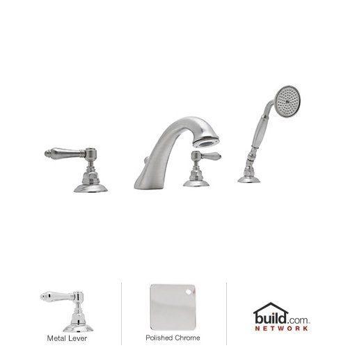 A1464 Faucet (Rohl A1464LMOI U.6793Stn-2 A1464Lm Country Bath Roman Tub Faucet with Metal Lever Handles and Single F, Old Iron)
