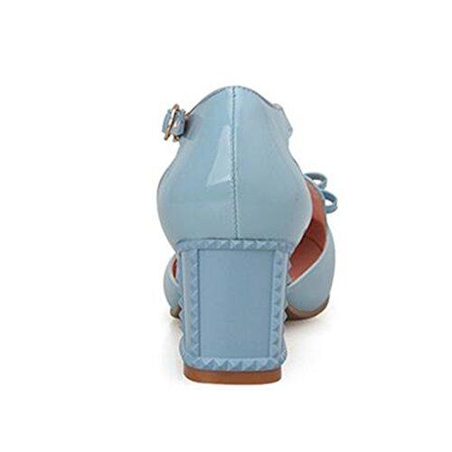 Grueso Tamaño UK5 De Sandalias De Talón La La De Cuero PU Verano Cabeza Patente Sintético De Azul EU38 5 Zapatos Talón Confeccionado Pie Medio Color Estudiante CN38 SqcfacwB