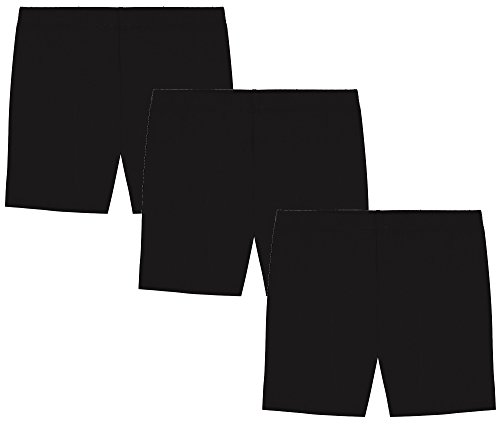 MY WAY Girls' Value Pack Solid Cotton Bike Shorts - All Black - 8 ()