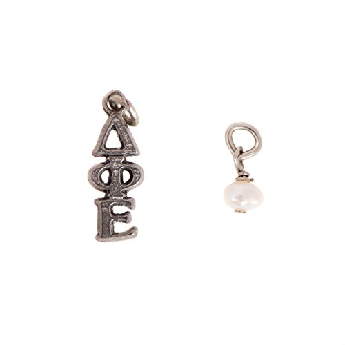 Delta Phi Epsilon Double Charm Sorority Lavalier and Simulated Pearl with Chain DPhie - Fraternity Sorority Pearls