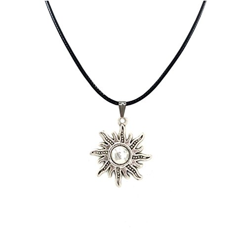 New Sun Necklace Pendant Black Leather Cord Choker Charm Gift for Women