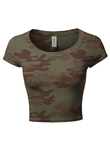 (A2Y Basic Solid Printed Scoop Neck Cap Sleeve Fitted Crop Rayon Top Tee Shirt New Camo Olive S)