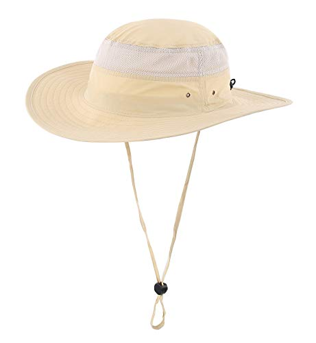 Home Prefer Mens Airy Mesh Sun Hat Wide Brim Cool Bucket Hat with String Fishing Hat Light Khaki