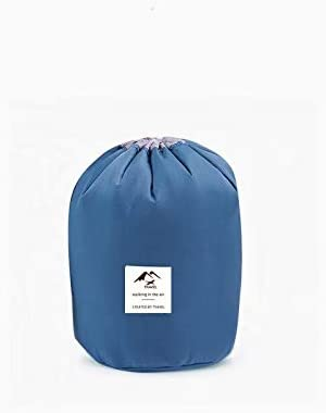 1pc クリスマスギフト 携帯用洗浄袋旅行ドラム洗浄袋 防水化粧品袋 収納袋 化粧品袋 シリンダー化粧品袋 Blue