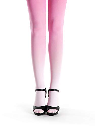 Footed Pastel - Pale Pink - Pink Pastel Tights - Cute Footed Opaque Microfibre Pantyhose - Ombre Tights Pink - Pink Gradient Pantyhose