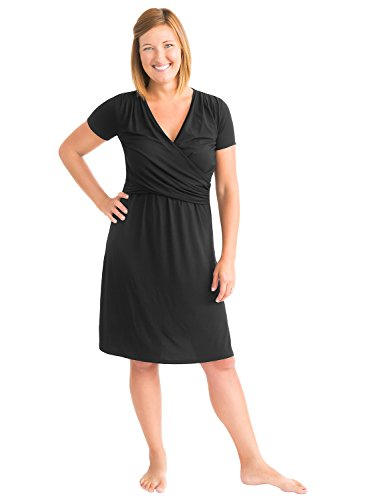 Kindred Bravely The Angelina Ultra Soft Maternity & Nursing Nightgown Dress (Black, XL)