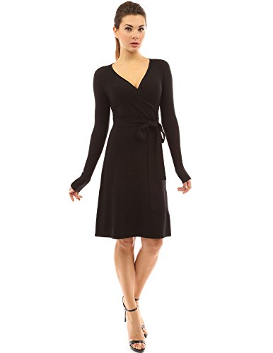 PattyBoutik Women V Neck Faux Wrap Long Sleeve Knit Dress (Black Large)