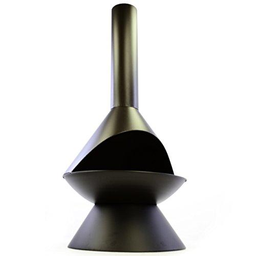 Terrassenofen Metall mit Rost Feuerhaken 122 x 58 x 58 cm Gartenkamin Feuerstelle Gartenofen Stahl wetterfest robust 8 kg