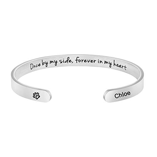 Awegift Dog Loss Sympathy Cuff Bracelet in Memory of Pets Jewelry Gift Engraved Pet Name Chloe