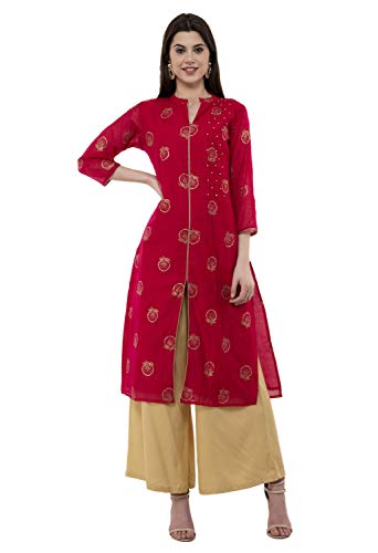 Lagi Women Designer Straight A-Line Kurta Kurtis top Tunic Dresses Polly Silk Rayon Cotton Kurtis Kurta (L, Magenta (RK2134B))