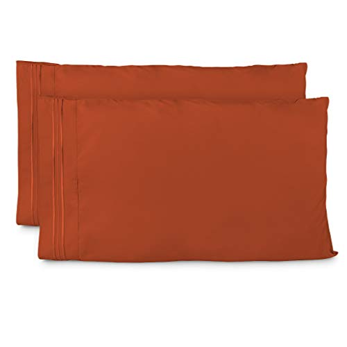 Cosy House Collection Pillowcases King Size - Burnt Orange Luxury Pillow Case Set of 2 - Premium Super Soft Hotel Quality Pillow Protector Cover - Cool & Wrinkle Free - Hypoallergenic ()