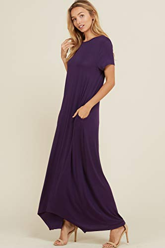 Women's Sleeve Fit Short Neck Comfy Loose Maxi Casual Dresses Annabelle Violet Round Pockets qdHptZda