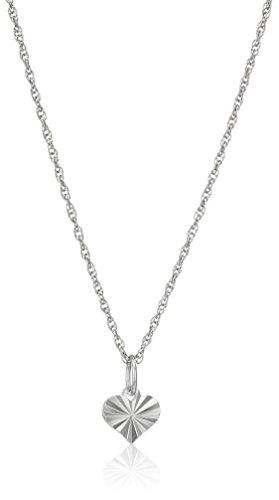 Girls' Petite Sterling Silver Diamond Cut Heart Pendant Necklace, 16