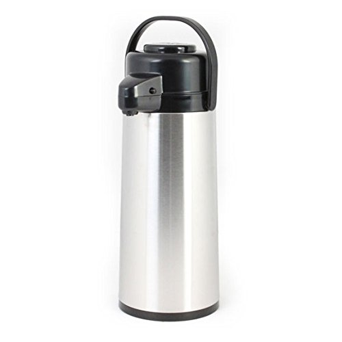 Excellante ASPG025 Airpot, Stainless Steel Body, Glass Lined, Push Button, 2.5 L (Pack of 6)