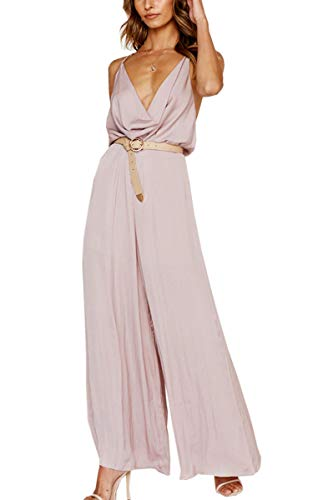 Angashion Womens Sexy V Neck Spaghetti Strap Backless Jumpsuit Loose Wide Leg Long Pant Rompers