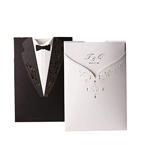 Laser Cut Wedding Invitations Cards 50pcs Black&White Groom and Bridal Blank Tri-fold Inserts Printable Personalized for Engagement Marriage Bridal Shower (Set of 50 Pieces)]()