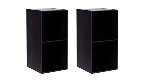 Furinno 15.60 x 31.10 Eco-Friendly Wood Composite Espresso Stackable Modular Open Shelves,2-pieces (Light Open Single Bookcase Oak)