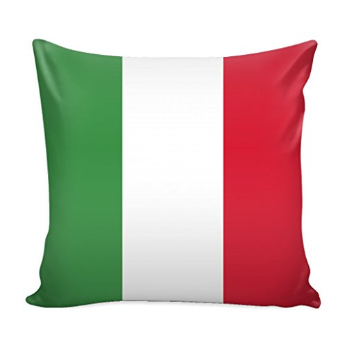 Italy Throw Pillow Cover with Insert - Italian Flag Decorative Charming Italian-Themed Designs - Personalized Décor - Square Cushion is Ideal for Chair, Couch, Bed, Sofa, Living Room, ()