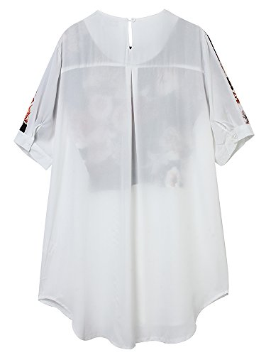 Patchwork Loose Shirt White Women Dress Floral Printed Vintage Chiffon SpwI1
