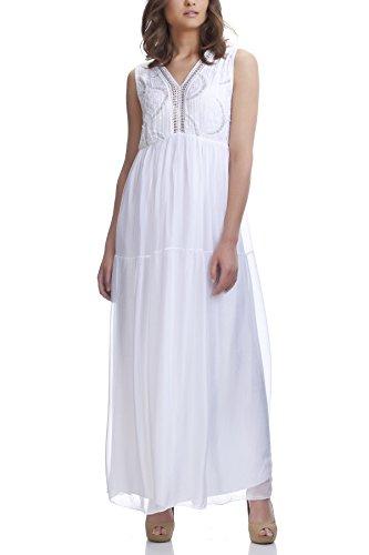 Laura Moretti - Vestido de seda largo con detalles en plata y bordados Blanco