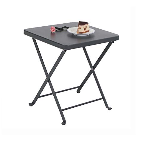 PHI VILLA Folding Patio Side Table Outdoor Steel Coffee Table, Small End Patio Tables, Gray