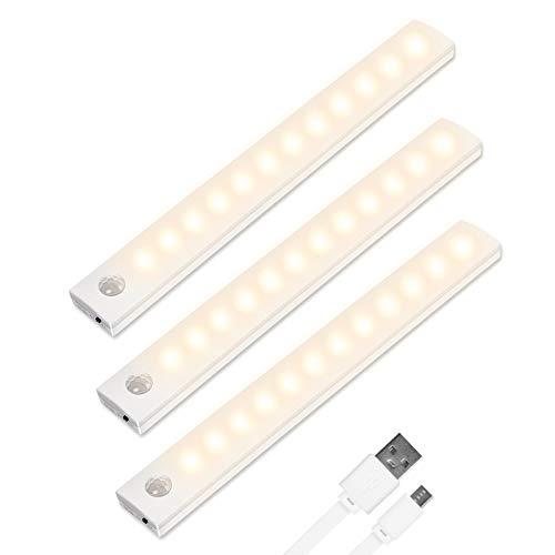 Vicloon Iluminacion Luz sin cables Portatil, 3 Pc Luz Armario con Sensor de Movimiento con Auto en/Apagado/Siempre en…