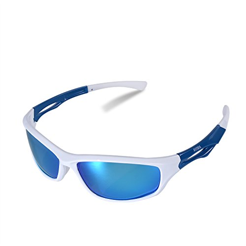 AVIMA BEST Unisex Polarized Tr90 Unbreakable Frame Sports Sunglasses for Running Baseball Cycling Fishing Volleyball Driving Skiing Golf Traveling (White/Blue With Blue Lens)