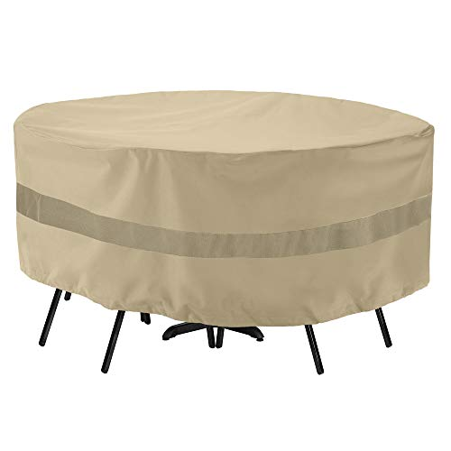 "SunPatio Outdoor Table and Chair Cover, Waterproof Round Patio Furniture Set Cover with Sealed Seam, Heavy Duty Dining Table Set Cover 72"" Dia x 30"" H, All Weather Protection, Beige"