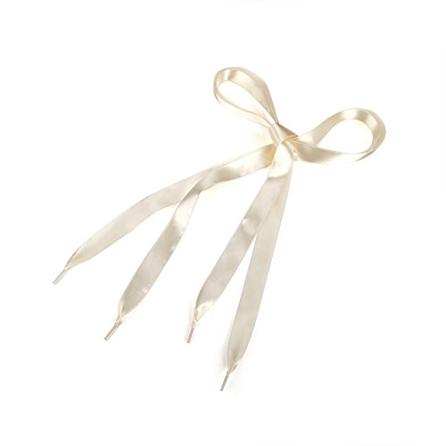 TopTie Satin Shoelaces, Wide Ribbon Shoelaces, Various Colors, Price / Pair-Cream- 44
