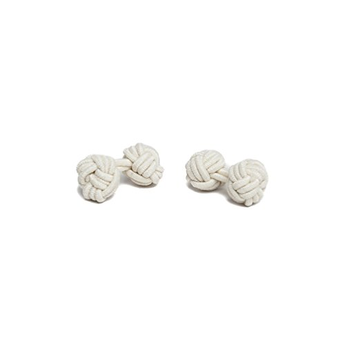 - Jacob Alexander Pair of Solid Color Silk Knot Cufflinks - Ivory Cream