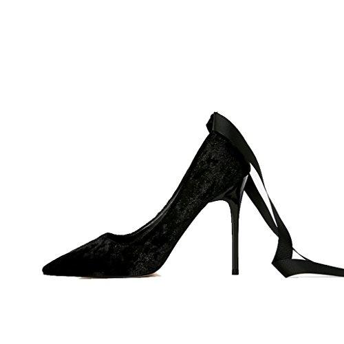 ALUK- Damenschuhe - Europa und Amerika spitzten flache einzelne wilde Schuhe mit Frauensandalen ( Farbe : Black-10cm , größe : 39-Shoes long245mm ) Black-8cm