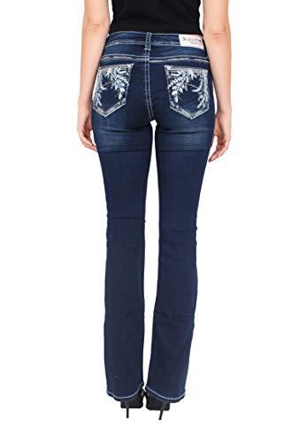 - Grace in LA Women Easy Fit Silver Floral Embellished Bootcut Jeans with Rhinestones 30 Dark Denim