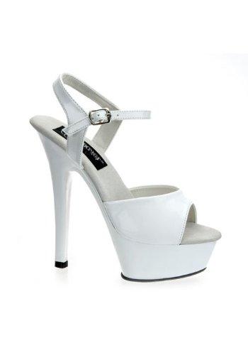 Women's 6 Inch Spike Heel Platform Sandal (White;7) ()