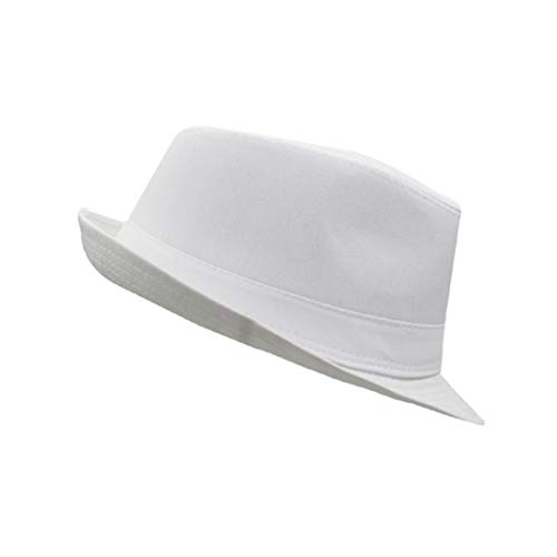 (Men's Fedora Hat Unisex Classic Lightweight Short Brim Beach Sun Hat Panama Gangster Hat Jazz Cap White)