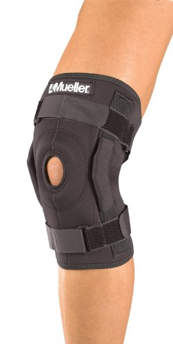 Mueller Hinged Wraparound Knee Brace, Black, Xtra Large