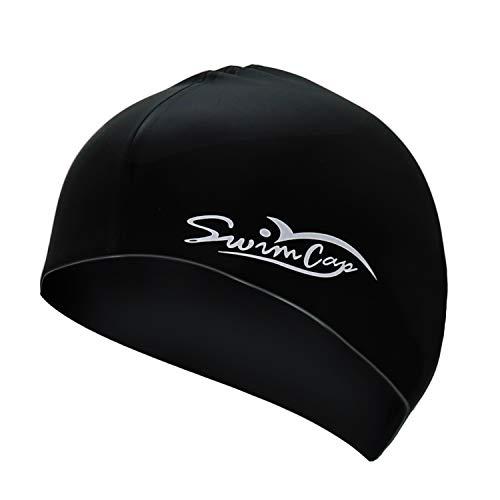 (YoJetSing Swimming Cap - Silicone No-Slip Swim Hat, One Size Swimcaps for Unisex Adults Kids, Black)