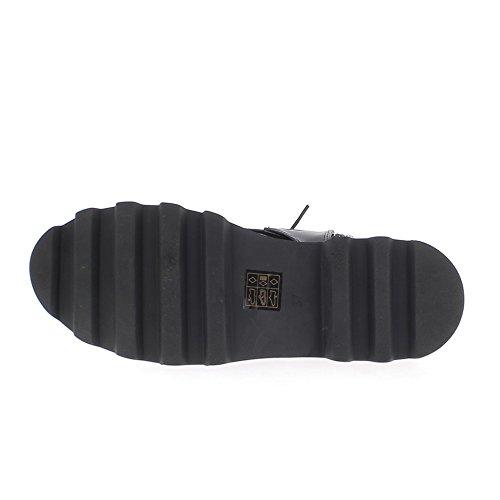 Stivaletti tacco donna nera e spessa aspetto croco