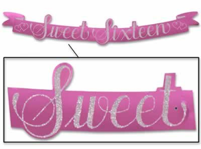 Glittered Sweet Sixteen Streamer Party Accessory (1 count) (1/Pkg), Health Care Stuffs