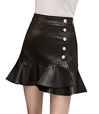 Sweatwater Women High Waisted Fall Ruffled Bodycon Flare Fishtail Faux Leather Skirts