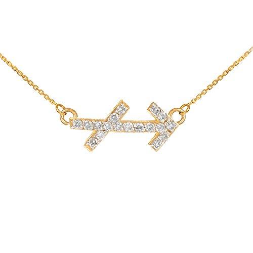 Collier Femme Pendentif 14 ct Or Jaune Sagittaire Signe Du Zodiaque Diamant (Livré avec une 45cm Chaîne)