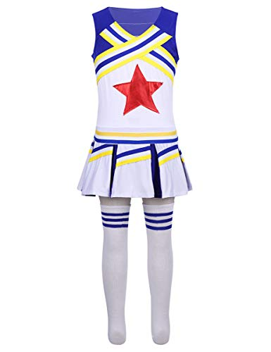 YiZYiF Little Girls' Youth Cheer Leader Uniform Outfit Short Sleeve Red Star School Cheerleading Camp Costume Cosplay Sleeveless Blue 10-12