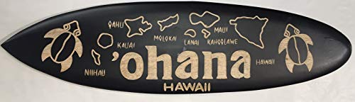 (Wooden Surfboard Wall Hanging Ohana Hawaii Sign 24
