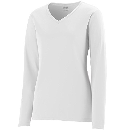 Augusta Sportswear Women's Long Sleeve Wicking t-Shirt, White, Large