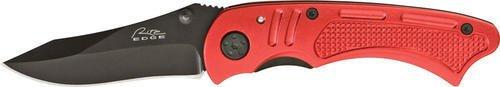 Checkered Folder (Rite Edge Linerlock Red Folder 4in. Knife, black finish stainless blade, Red checkered aluminum)
