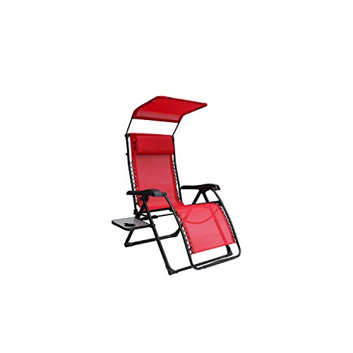 Mainstay Extra Large Zero Gravity Chair with Side Table and Canopy, Red